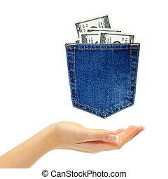 poche, dollars, jean, main postérieure