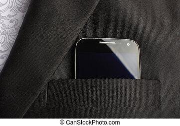 poche, téléphone, intelligent, complet
