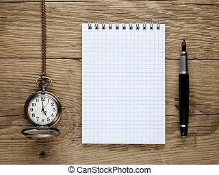 poche, vieux, bois, note, montre, stylo, livre, fontaine, fond