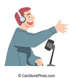 podcast, communiquer, vecteur, vivant, côté, microphone, vue, hôte, studio, audio, dessin animé, illustration homme, style, écouteurs, invité, radio