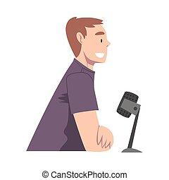 podcast, communiquer, vecteur, vivant, microphone, vue, hôte, studio, dessin animé, illustration homme, style, côté, radio