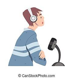 podcast, vecteur, côté, enregistrement, vue, microphone, studio, audio, dessin animé, illustration homme, style, écouteurs