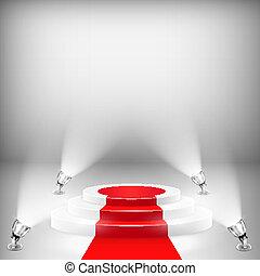 podium, éclairé, moquette rouge