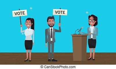 podium, bannières, groupe, candidats, vote