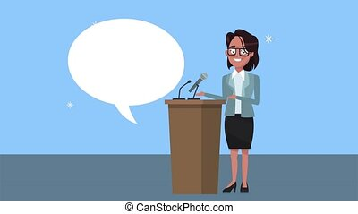 podium, candidat, caractère, parler, femme