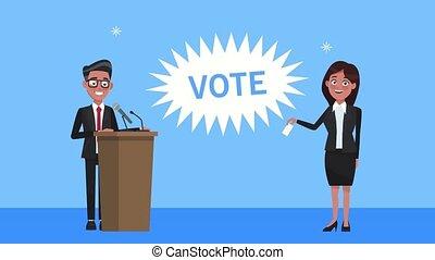 podium, couple, candidats, parler