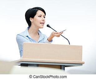 podium, femme, orateur, joli