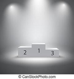 podium, vainqueurs, éclairé, sports