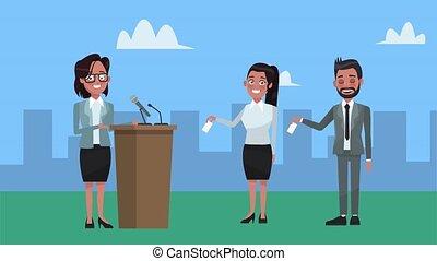 podium, ville, parler, groupe, candidats