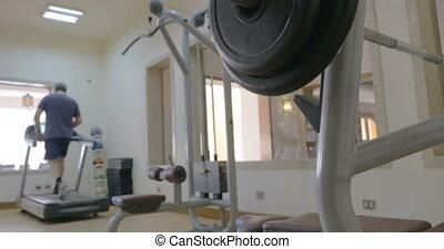 poids, gymnase, sportif, barre disques, mettre, disque