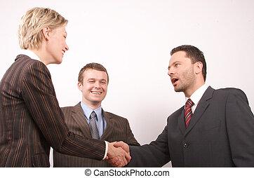 poignée main, 3, business