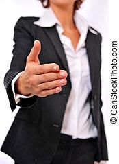 poignée main, affaires femme, atteindre
