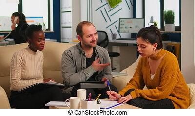 poignée main, conseiller, salutation, clients, business, divers