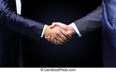 poignée main, fond, -, main, noir, tenue