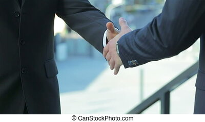 poignée main, reliure, accord