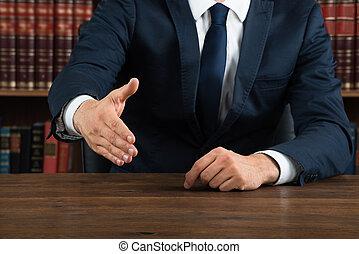 poignée main, salle audience, avocat, offrande, bureau