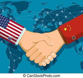 poignée main, usa, gens., deux, commercer, entre, politique, china., guerre