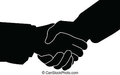 poignée main, vecteur, -