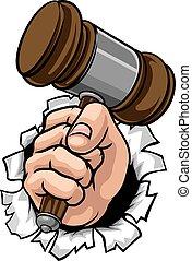 poing, juge, main, marteau, dessin animé, marteau, tenue
