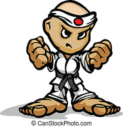 poings, arts, combattant, image, figure, karaté, martial, vecteur, déterminé, dessin animé, mascotte