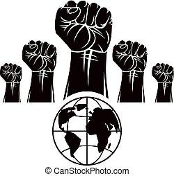 poings, composé, révolution, emblème, illustration., globe, gens, civil, fâché, symbole., serré, résumé, vecteur, social, la terre, concept., guerre