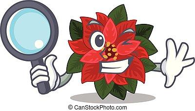 poinsettia, oeil, caractère, gai, une, détective, dessin animé, fleur