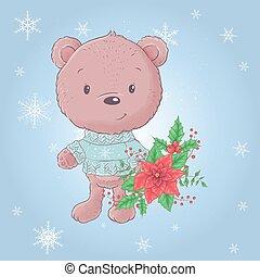 poinsettia., vecteur, ours, bouquet, dessin animé, mignon, illustration