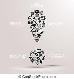 point d'exclamation, ensemble, icônes
