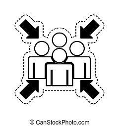 point, icône, réunion, signe