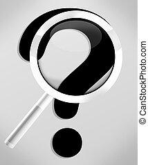 point interrogation, verre, conception, créatif, magnifier