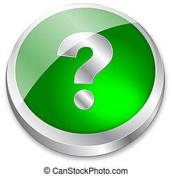 point interrogation, vert, 3d, bouton
