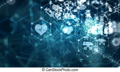 point, sur, cyber, sombre, monde médical, connexion, animation, santé, 4k, fond, passe, en mouvement, ligne, par, technologie, résumé, futuriste, icône