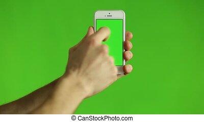 pointage, chroma, téléphone, vert, doigt, intelligent