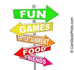 pointage, divertissement, activité, amusement, signes, directions