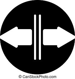 pointage, opposé, flèches, deux, directions, icône