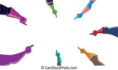 pointage, superhero, doigts, blanc, mains