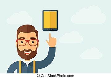 pointage, tablette, écran, toucher, icône, homme