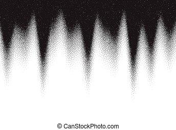 pointillez, dotwork, points, fond, noir, blanc, dispersé, gradient