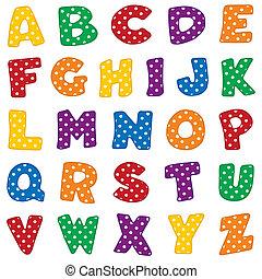 points, alphabet, polka, blanc