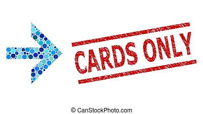 points, cartes, rond, timbre, mosaïque, seulement, textured, droite flèche