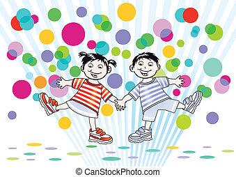 points, coloré, deux enfants