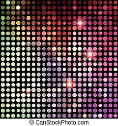 points, coloré, résumé, fond, disco, vecteur, arrière-plan.