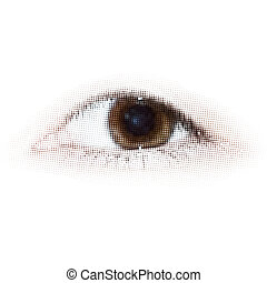points, eps, halftone, humain, 8, eye.