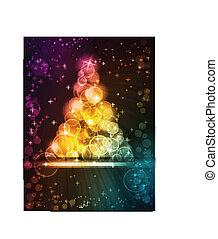 points, fait, lumière colorée, arbre, étoiles, noël