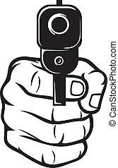 pointu, fusil main, (pistol)