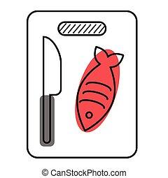 poisson plat, cuisine, blanc, illustration