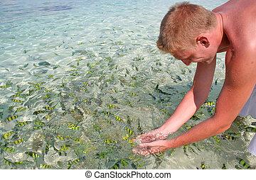 poissons, thaïlande, prises, homme, heureux