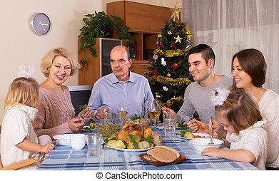 poitrine, célébration famille, noël