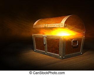 poitrine, fort, intérieur, vieux, bois, lueur, trésor
