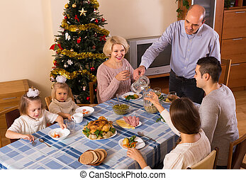 poitrine, noël famille, célébration